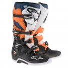 Crossstövlar Alpinestars Tech 7 Svart/Vit/Orange/Blå